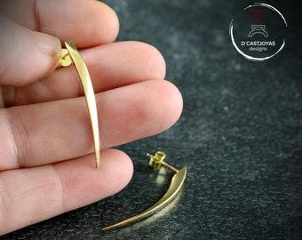 Solid gold snake fangs earrings , 18K Gold