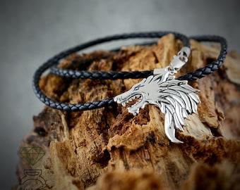 Silver Viking Wolf pendant, Huargo Wolf, Ghost, Geek jewelry, Handmade pendant