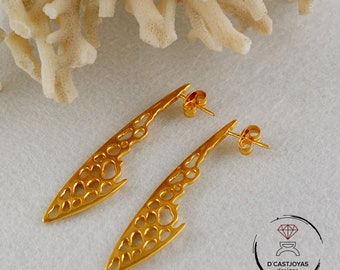 Silver long earrings dragonfly wings