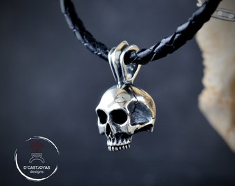 Solid silver skull pendant without jaw  with oxidised textures, Biker jewelry, Memento mori pendant