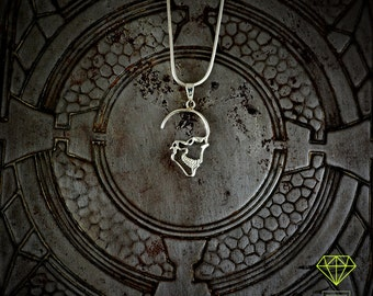 Silver Skull Pendant, Profile skull necklace, Gothic jewelry