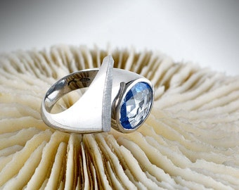 Aquamarine silver ring,  Statement silver ring, Blue stone ring