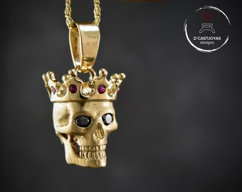 Solid gold king pendant with black diamonds and natural rubies , 14k or 18k gold skull with crown, Memento mori pendant
