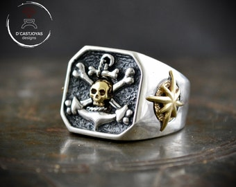 Custom silver signet ring for men, Square signet ring