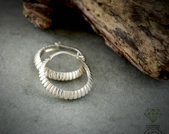 Silver hoops with grooves, Striped Hoop earrings, Handcrafted earrings, Gold plated Hoops Earrings, Boho, Urban jewelry, Unisex jewelry