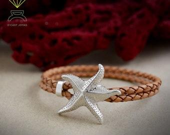 Silver Starfish Bracelet, Sterling Silver Bracelet, Leather And Silver Bracelet, Handmade bracelet, Mens Bracelet, Ocean jewelry