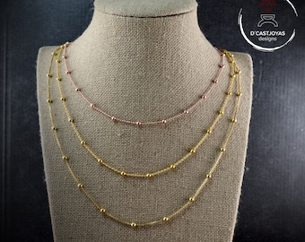 Gold plated ball silver chain, Rose gold plated ball silver chain, Silver chain for her, Yellow gold plated chain