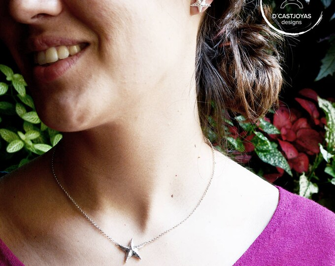 Silver starfish choker, Mother's Day GiftSmall silver star pendant, Sea jewelry, Handmade necklace, Ocean Jewelry