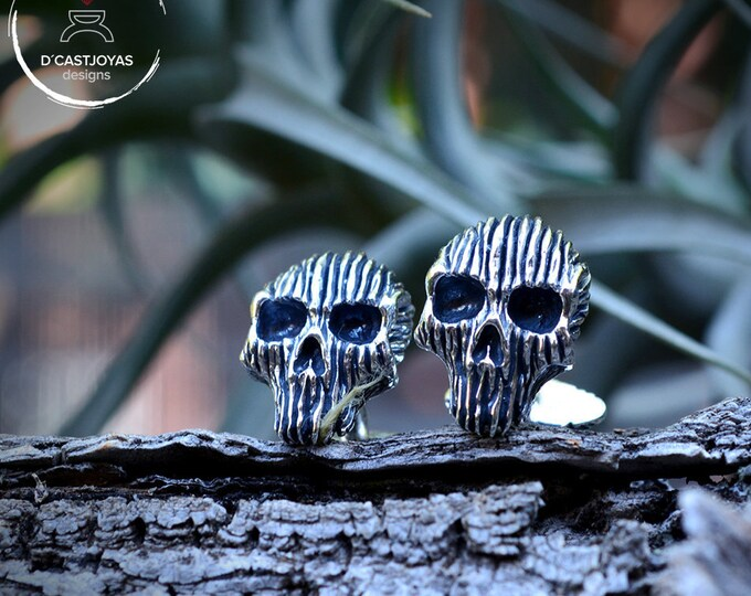 Skull cufflinks, Solid Sterling silver cufflinks, Skull cufflinks for men, Halloween jewelry, Badass, Biker jewelry, Handcrafted