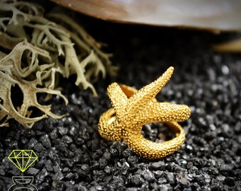 18k gold starfish ring, Special Christmas gift, Gold Adjustable Ring, Gift for her, Handcrafted gold Ring, Statement ring, Ocean jewelry