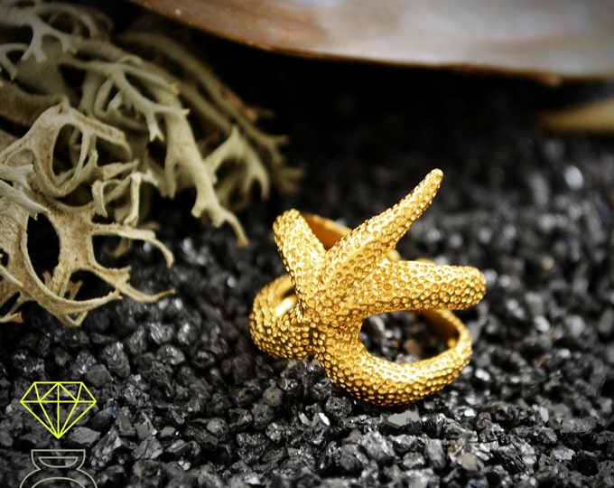 Sea Star Gold Ring, Wedding beach ring, Gold Adjustable Ring,  Gold Starfish Open Ring, Handcrafted gold Ring, Boho Style, Ocean jewelry