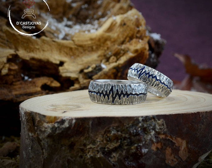 Hammered Sterling silver ring, Heartbeat ring, Rustic band ring, Wedding rings, Band ring for men, Boho style, Handmade ring, Unisex