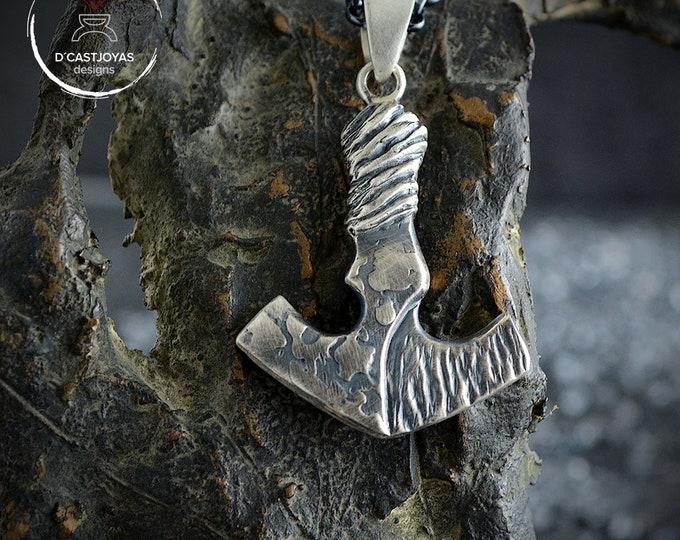 Oxidised Sterling silver Thor hammer pendant, Mjolnir, Viking amulet, Christmas gift