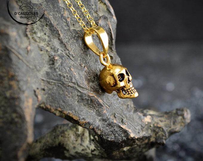 Gold plated Sterling silver skull pendant, Cool Christmas gift, Gothic jewelry, Memento mori, Handmade pendant