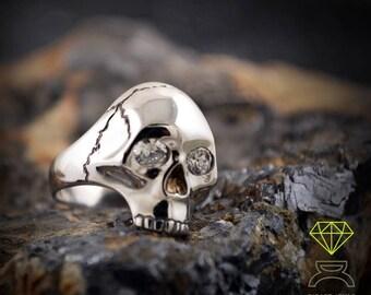 Silver Skull Ring with gemstones, Silver Skull, Memento Mori ring , Handmade ring, Unisex jewelry, Skulls jewelry, Gothic alliances