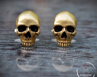 Skull cufflinks,  24k Gold plated Cufflinks , Men's Cufflinks, Badass Jewelry, Gothic Jewelry, Biker jewelry, Halloween jewelry
