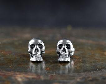 Silver skull earring for men and woman, Memento mori earrings