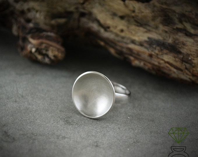 Silver Bowl Ring, Geometric ring, Round silver ring, Contemporary jewelry, Handmade ring, Unisex jewelry, Minimal style