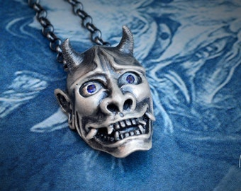 Japanese Oni demon pendant in Sterling silver and natural stones,  Hannya mask necklace