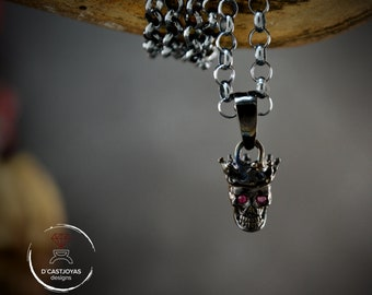 Black silver skull king charm with natural stones, Skull with crown pendant
