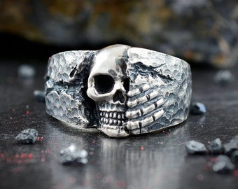 Oxidised Silver skull band ring for men, Badass jewelry