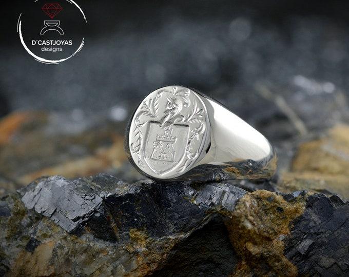 Oval signet ring, 18k white gold ring, Custom signet ring, Mens ring, Engraved seal ring, Handcrafted  signet ring