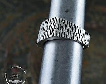 Silver Rectangular Band ring, Rustic Ring for men, Original alliances, Sterling silver oxidised ring, Handmade rings,  Cool man ring