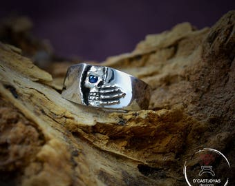 Sterling skull ring, Winter is coming ring, Sterling band ring, Wedding ring, Mens Jewelry, Handcrafted ring, Goth jewelry, Gothic ring