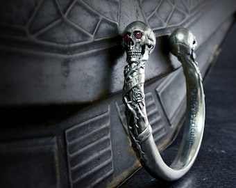 Custom order for JT TH, Solid sterling silver skulls bangle with rubies, Last Payment
