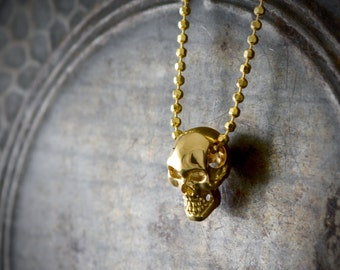 14k or 18k gold small skull pendant, Smiley skull necklace