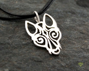 Father's Day gift, Viking Wolf pendant Totem Wolf Sterling silver pendant Hand Made Men pendant
