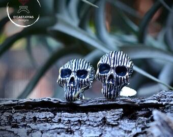 Skull cufflinks, Solid Sterling silver cufflinks, Skull cufflinks for men, Halloween jewelry, Badass, Biker jewelry, Handcrafted