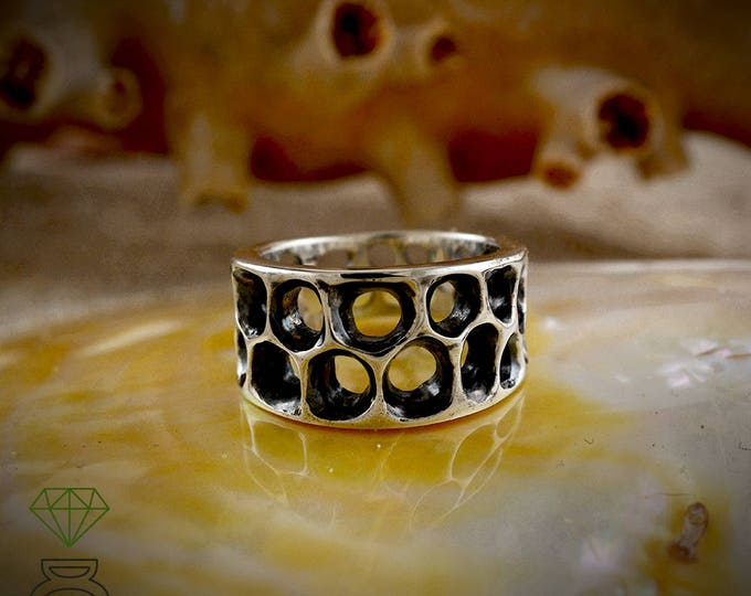 Sterling Silver band ring, Silver bone ring, Silver men ring, Unisex jewelry, Handmade ring Contemporary jewelry Badass jewelry