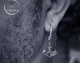 Silver Viking hoop earring for men, Mjolnir earring, Hammer Thor