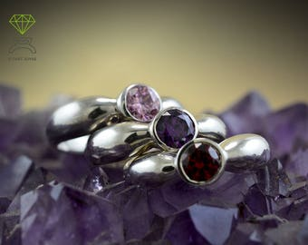 Silver ring with birthstone, Valentine's gift, Engagement ring, Solitaire with colored zircons, Gift for her, Wedding ring