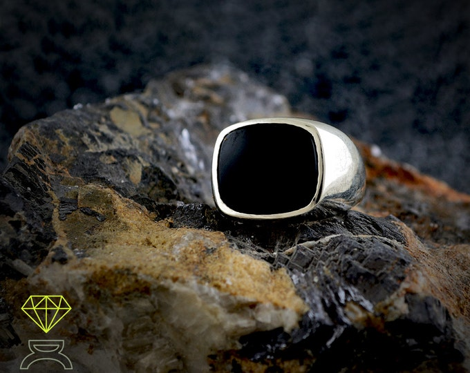 Sterling Silver Onix ring, Signet onix ring, Seal ring for men Black Stone ring, Men jewelry,  Handmade ring, Urban style , Cool mens ring
