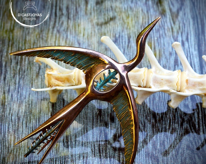 Featured listing image: Bronze Bird Brooch, Phoenix bird Silver shawl brooch,  Flying bird pin,  Artistic Brooch, Handcrafted jewelry, Contemporary Jewelry