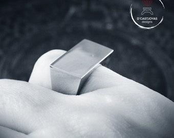 Solid silver square signet ring