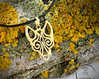 18k  and 14k Gold Viking Wolf pendant, Totem Wolf