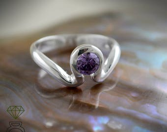Amethyst silver wedding ring wave, Valentine's Day gift, Engagement ring with blue gemstone, Beach bridal jewelry, Handmade ring