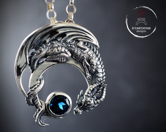 Silver Dragon Pendant with natural blue London topaz, Silver Half Moon Dragon necklace