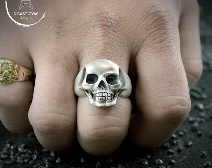 Sterling Silver Skull Ring, Silver skull ring for men, Human skeleton silver ring,  Solid silver Skull ring, Handcrafted ring, Memento Mori