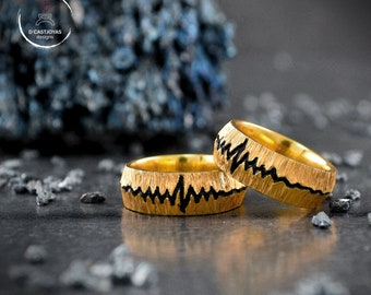 Rustic wedding band ring set, Sterling silver heartbeat band ring, Gold plated band ring, Boho Wedding rings, Band ring for men