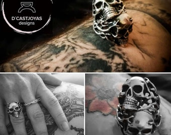 Custom order  silver skull wedding rings set