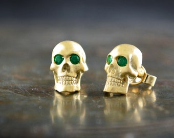 Solid gold skull earring for men and woman, Memento mori earrings