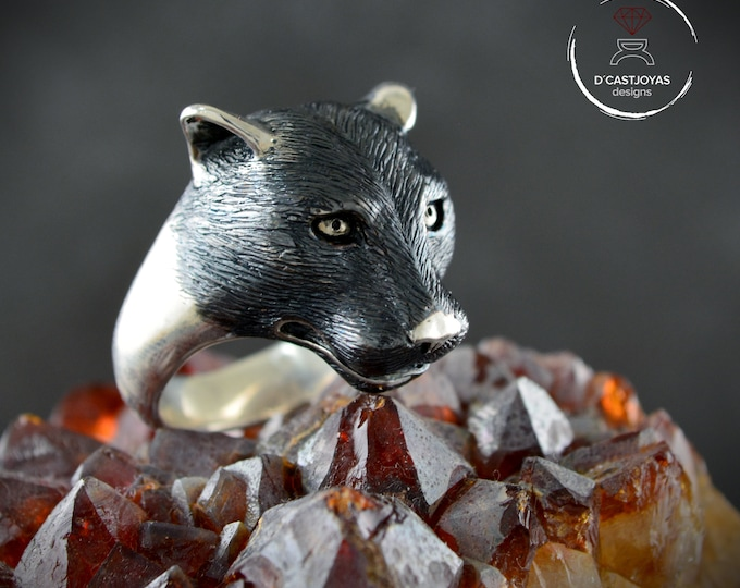 Featured listing image: Silver Panther ring, Father's Day gift,Panther totem ring, Silver puma ring with oxidised textures, Wild jewelry