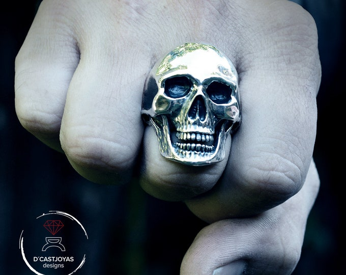 Sterling Silver Anatomical Skull ring with jaw, Memento mori ring, Biker ring, Brutalist skull ring
