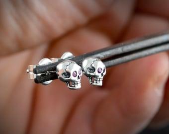 Silver tiny skull stud earrings, Skull earrings for men or woman