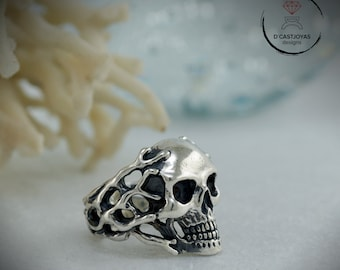 Sterling Skull Ring for woman or men, Skull ring with coral branches