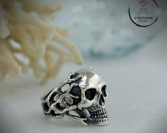 Sterling Skull Ring for woman or men, Skull ring with coral branches,  Skull Christmas gift, Handcrafted ring, Silver biker ring